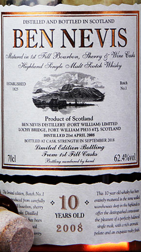 Ben Nevis Whisky 10 Jahre Cask Strength Batch 1